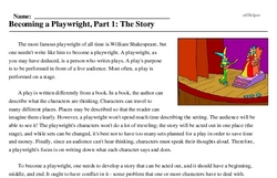 Print <i>Becoming a Playwright, Part 1: The Story</i> reading comprehension.