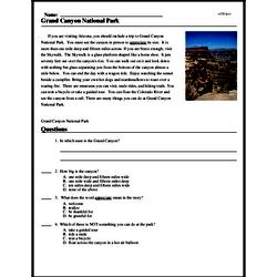 Print <i>Grand Canyon National Park</i> reading comprehension.