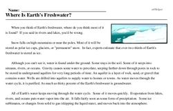 Print <i>Where Is Earth's Freshwater?</i> reading comprehension.