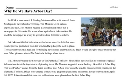 Print <i>Why Do We Have Arbor Day?</i> reading comprehension.