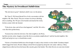 Print <i>The Mystery in Sweetheart Subdivision</i> reading comprehension.