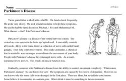 Print <i>Parkinson's Disease</i> reading comprehension.