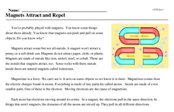 Print <i>Magnets Attract and Repel</i> reading comprehension.