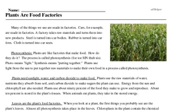 Print <i>Plants Are Food Factories</i> reading comprehension.