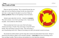 Print <i>The Circle of Life</i> reading comprehension.