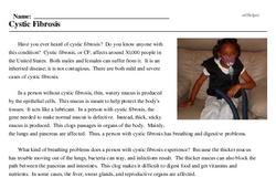 Print <i>Cystic Fibrosis</i> reading comprehension.