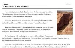 Print <i>What Am I? I'm a Natural!</i> reading comprehension.