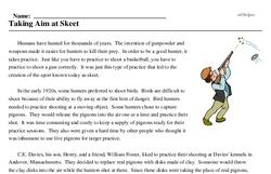 Print <i>Taking Aim at Skeet</i> reading comprehension.