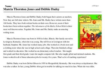 Print <i>Marcia Thornton Jones and Debbie Dadey</i> reading comprehension.