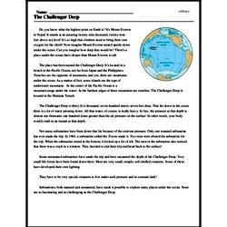 Print <i>The Challenger Deep</i> reading comprehension.