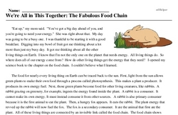 Print <i>We're All in This Together: The Fabulous Food Chain</i> reading comprehension.