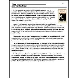 Print <i>Anne's Quick Escape</i> reading comprehension.