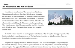 Print <i>All Mountains Are Not the Same</i> reading comprehension.