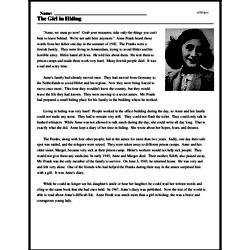 Print <i>The Girl in Hiding</i> reading comprehension.