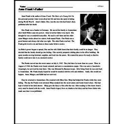 Print <i>Anne Frank's Father</i> reading comprehension.