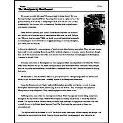 Print <i>The Montgomery Bus Boycott</i> reading comprehension.
