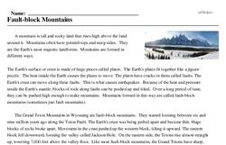 Print <i>Fault-block Mountains</i> reading comprehension.