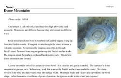 Print <i>Dome Mountains</i> reading comprehension.
