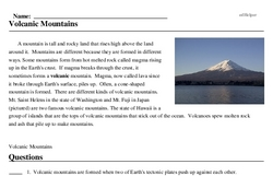 Print <i>Volcanic Mountains</i> reading comprehension.