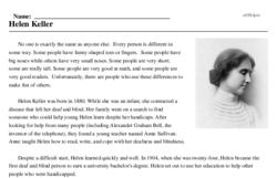 Print <i>Helen Keller</i> reading comprehension.