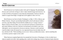 Print <i>David Guterson</i> reading comprehension.