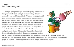 Print <i>Do Plants Recycle?</i> reading comprehension.