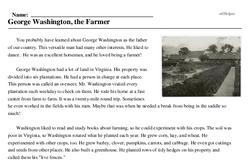 Print <i>George Washington, the Farmer</i> reading comprehension.