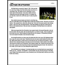 Print <i>Anne Frank: Life at Westerbork</i> reading comprehension.
