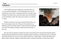 Print <i>Volcanoes</i> reading comprehension.