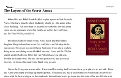Print <i>The Layout of the Secret Annex</i> reading comprehension.