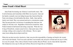 Print <i>Anne Frank's Kind Heart</i> reading comprehension.