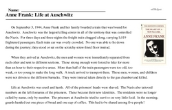 Print <i>Anne Frank: Life at Auschwitz</i> reading comprehension.