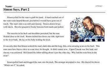 Print <i>Simon Says, Part 2</i> reading comprehension.