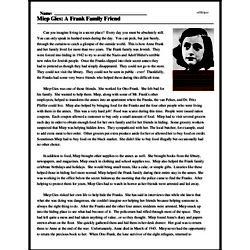 Print <i>Miep Gies: A Frank Family Friend</i> reading comprehension.