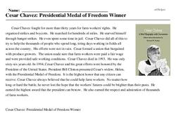 Print <i>Cesar Chavez: Presidential Medal of Freedom Winner</i> reading comprehension.