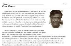 Print <i>Cesar Chavez</i> reading comprehension.