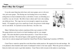 Print <i>Don't Buy the Grapes!</i> reading comprehension.