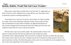 Print <i>Bubble, Bubble, Would This Soil Cause Trouble?</i> reading comprehension.