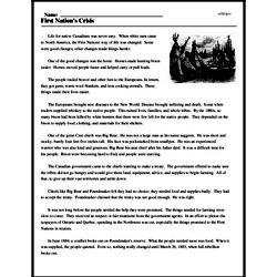Print <i>First Nation's Crisis</i> reading comprehension.