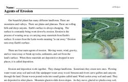 Print <i>Agents of Erosion</i> reading comprehension.