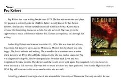 Print <i>Peg Kehret</i> reading comprehension.