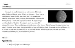 Print <i>Mercury</i> reading comprehension.