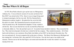 Print <i>The Bus Where It All Began</i> reading comprehension.