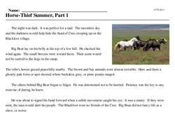Print <i>Horse-Thief Summer, Part 1</i> reading comprehension.