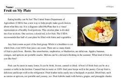 Print <i>Fruit on My Plate</i> reading comprehension.