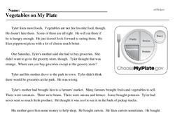 Print <i>Vegetables on My Plate</i> reading comprehension.