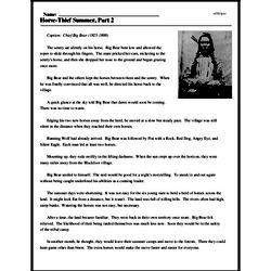 Print <i>Horse-Thief Summer, Part 2</i> reading comprehension.
