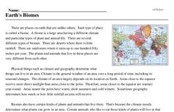 Print <i>Earth's Biomes</i> reading comprehension.