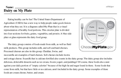Print <i>Dairy on My Plate</i> reading comprehension.
