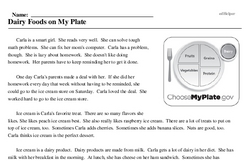 Print <i>Dairy Foods on My Plate</i> reading comprehension.